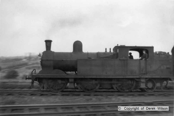 LNER (GCR) N5 0-6-2T no. 69263, panned as it passes Clipstone East, heading towards Shirebrook with the 'staff train'. This was a single coach train for getting railway staff to & from work. circa 1960