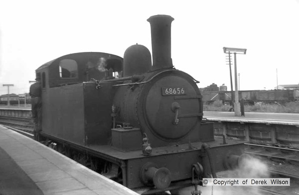 LNER (GER) J68  0-6-0T no. 68656 is seen on station pilot duty at Yarmouth South Town. Taken in July 1959, the loco was withdrawn & cut up during April of the following year.