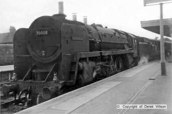BR Britannia 4-6-2 no. 70008  Black Prince waiting to leave Yarmouth South Town with a London bound express.This was most likely taken on a Saturday, late July/early August, 1959.