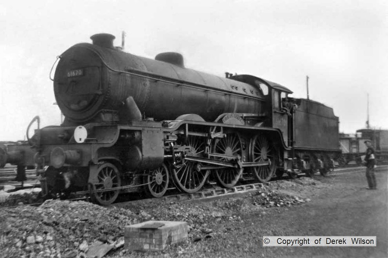 LNER B17 4-6-0 no. 61670 City of London, captured in the yard at Yarmouth South Town.(32D). Taken during my summer holiday, so has to be either the last week of July, or first week of August 1959. The loco was withdrawn & cut up in April 1960.