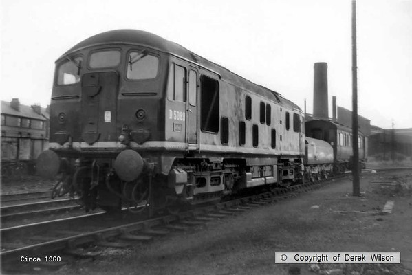 BR type 2 no. D5089 is seen in the shed yard at Kirkby-in-Ashfield. Under the T.O.P.S. system it became class 24 no. 24089. circa 1960