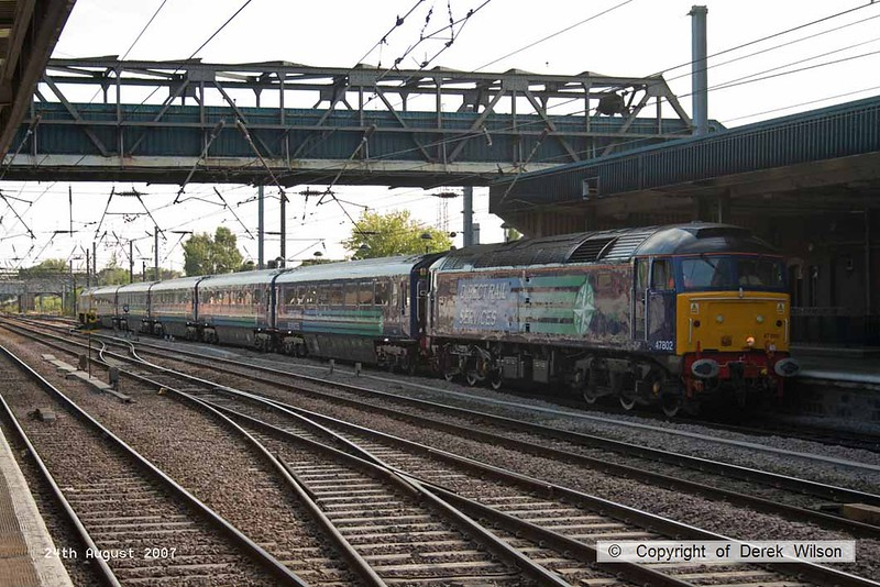 070824-052     Direct Rail Services class 47 no 47802 pulls into Doncaster, leading 1Z44, 14.01 London King's Cross to Sunderland. Route learning and staff training for the impending Grand Central service. 47237 was 'dead' at the rear of the train.