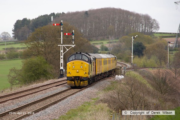 160425-011     Network Rail test train 1Q05, 08.34 Derby R.T.C. to Derby R.T.C. is captured passing the former Clipstone West Junction, powered by Colas Rail class 37's no's 37175 & 37421, in 'top & tail' mode.