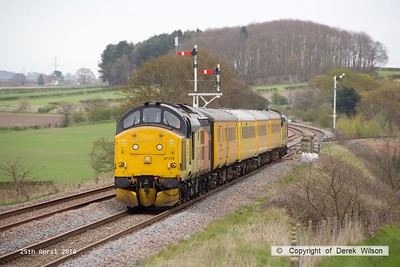 160425-013     Network Rail test train 1Q05, 08.34 Derby R.T.C. to Derby R.T.C. is captured passing the former Clipstone West Junction, powered by Colas Rail class 37's no's 37175 & 37421, in 'top & tail' mode.