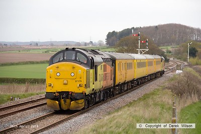 160425-017     Network Rail test train 1Q05, 08.34 Derby R.T.C. to Derby R.T.C. is captured passing the former Clipstone West Junction, powered by Colas Rail class 37's no's 37175 & 37421, in 'top & tail' mode.