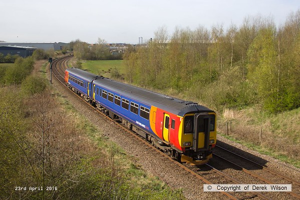160421-001     East Midlands Trains class 156 sprinter unit no 156403 is seen passing Sutton-in-Ashfield with 2D07, the 10.37 Mansfield Woodhouse to Nottingham.